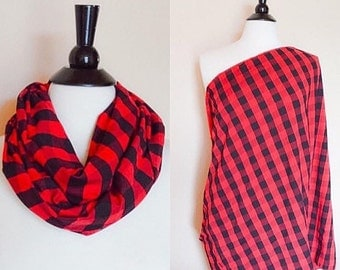 Plaid nursing scarf - red nursing cover scarf - infinity nursing scarf - breastfeeding cover - new mom gift - baby shower gift