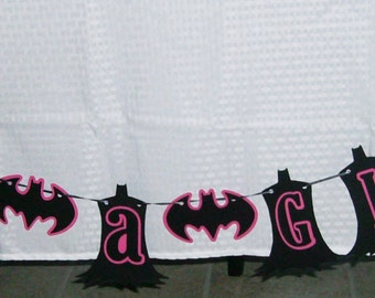 "Batgirl ""It's a Girl"" / Super Hero Banner / Batgirl Baby Shower / Black and Pink (598B)"