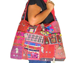 "Ladies Banjara Handmade Shoulder Bag - Embroidery Coin Mirror Cowrie Shell Work Fashion Large Weekender Handbag ~ 21"" x 15"" - NH10081"