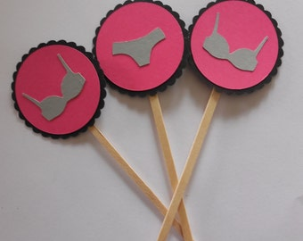 Lingerie Cupcake Toppers- Lingerie Decorations- Bra and Panty Cupcake Toppers- Bachelorette Party Decorations- Bachelorette Cupcake Toppers