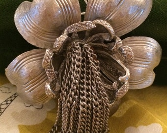 Designer Brushed Silver Flower with Waterfall Center Costume Signed HAR Brooch