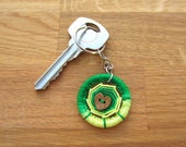 Dorset Button Keyring in spring green and yellow, Father's Day unique handmade keychain gift for dad, hand crafted key ring token gift