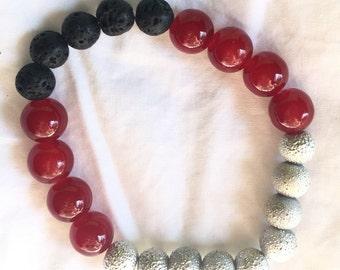 Red and Black Lava Bracelet
