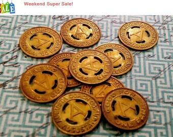 Weekend Super Sale! Vintage Transit Token Augusta Coach, Augusta GA, Bronze Token 16mm TC-121349