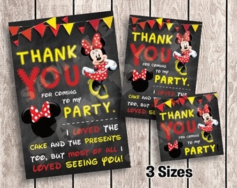 3 Sizes - Minnie Mouse Thank You Cards / Favor Tags for Birthday Party | Printable  | INSTANT DOWNLOAD