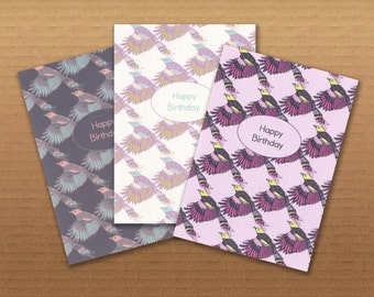 Birthday Cards Set Of 3- Illustrated Bird Design Greetings Cards