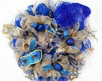 Mardi Gras Wreath, Carnival Wreath, Festival Wreath, Masquerade Wreath, Mardi Gras Decor, Blue Gold Wreath, Holiday Wreath