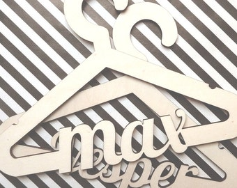 Customized Wooden Coat Hanger with Name Lasercut Small