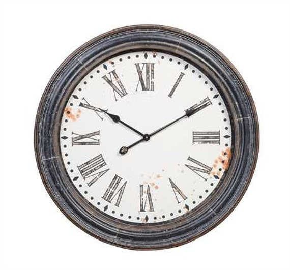 distressed wood and metal wall clock with by reclaimedgoodsusa