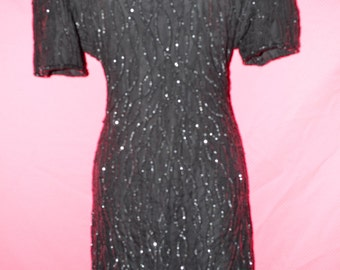 size L vintage sequin dress/ 90s sequin dress/ vintage party dress/ 80s sequin dress