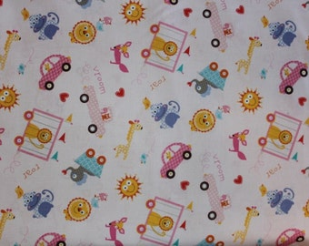 "Item # PWDF 153 Pink  Free Spirit Fabrics Happi Collection ""Tossed"" by Dana Designs. 1/2 Yard Cuts Children's Fabric."