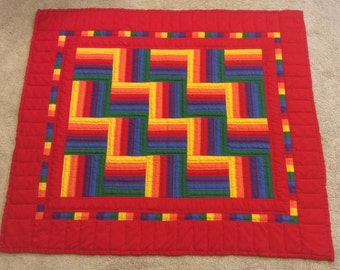 SALE - Baby quilt, quilted baby blanket, hand quilted baby blanket, crib quilt, baby blanket
