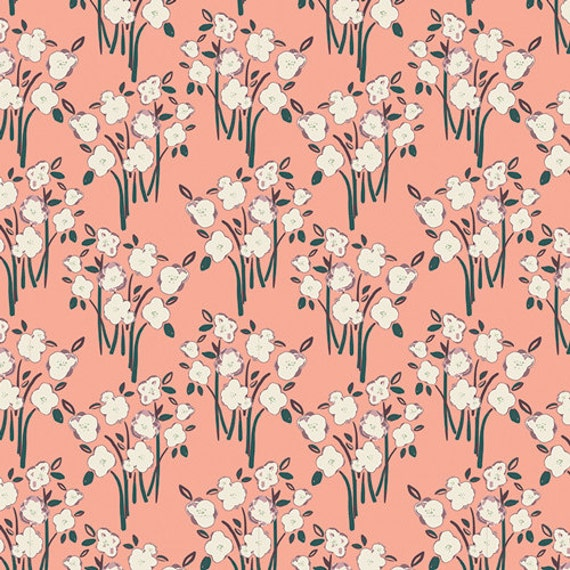 Organic Changing Pad Cover >> Hello Ollie Garden Grounds in Peach >> Made-to-Order peach coral floral baby bedding, pink floral changing pad