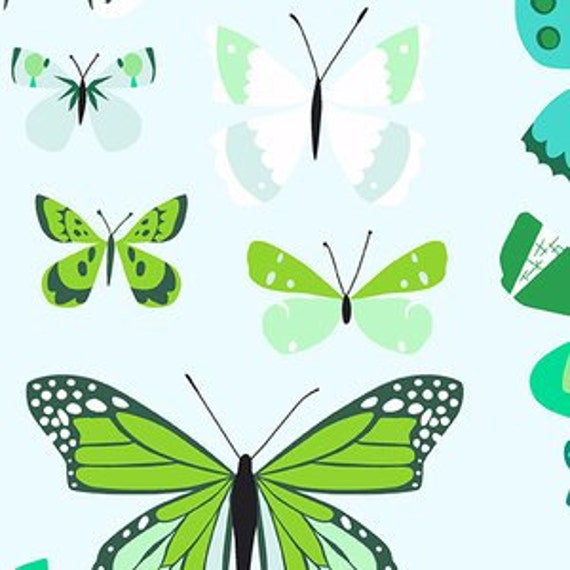 Crib Sheet >> Butterfly Box in Green >>  MADE-to-ORDER blue baby bedding, insect toddler sheet, modern bassinet sheet, mini crib sheet MIX