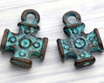 4 Greek Cross Charms, Rustic Cross Charms, Copper with Green Patina, Metal Casting, Mykonos Greek, 12 x 17 mm - MK52