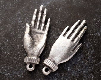 2 Healing Hand Charms, Antique Silver Hand Charms, Spiritual Hand Pendant, Mykonos Greek Metal Casting, Lead and Nickel Free, MK278