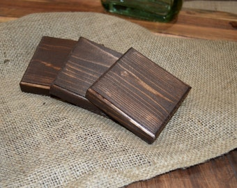 Rustic Wooden Coasters (Set of 4) - Dark Walnut with Clear Coat