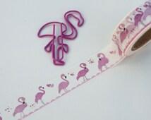 Flamingo Washi Tape, Kawaii Pink Flamingos Planner tape, Birthday card making tape