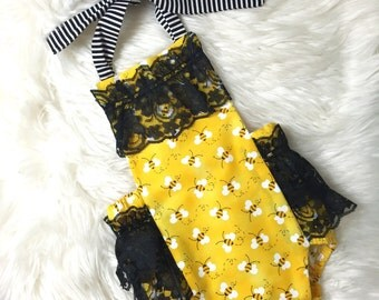 Bumble Bee Baby Romper- Baby Girl Romper, bumble bee costume, bee costume, girlie lace romper, bumble bee outfit