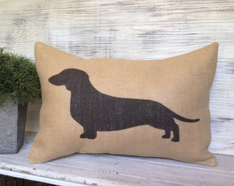 DACHSHUND SILHOUETTE PILLOW, Burlap,Insert Included