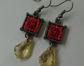 Hand embroidered earrings with Swarovski crystals