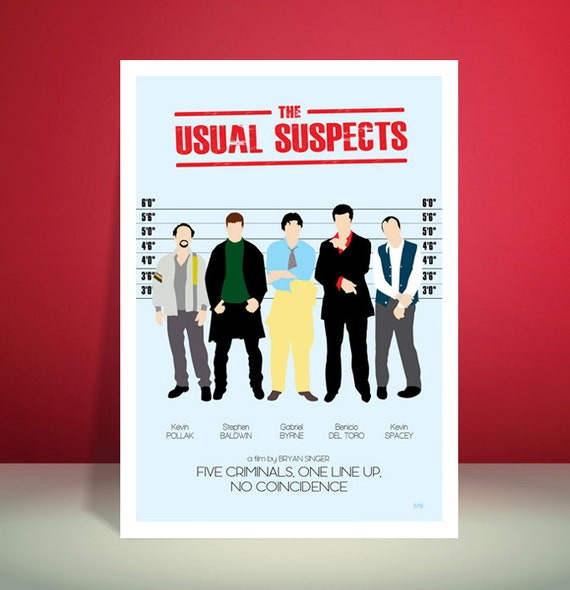 The Usual Suspects Minimalist Movie Poster // Available in 4 background colours // Unique Illustration A4 / A3 Art Print