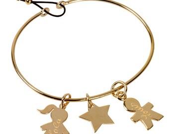 Bangle Bracelet and mini pendants gold plated