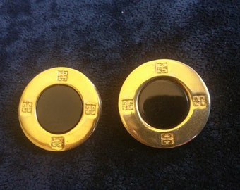Vintage Signed Givenchy Gold and Black Onyx Clip-on Earrings