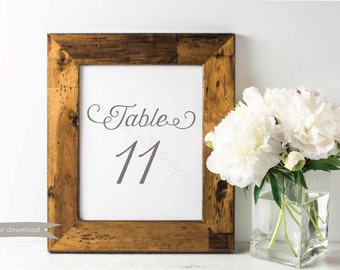 Table Numbers 11-20: The Jacquelyn Collection in Gray & White, DIY Digital Printable Jpeg File *INSTANT DOWNLOAD*