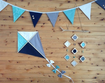 Personalized child's room decoration (Garland of pennants, mobile, kite, cushion, etc.) assorted colors, to suit your tastes.