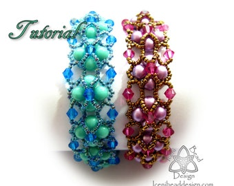 Tutorial Neptune's Gaze Bracelet with RounDuo beads,  pdf Pattern, Instructions English Only,