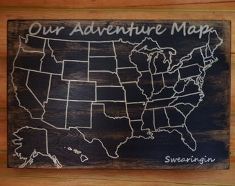Travel Map Adventure Map Us Wood Map Usa Travel Map Personalized