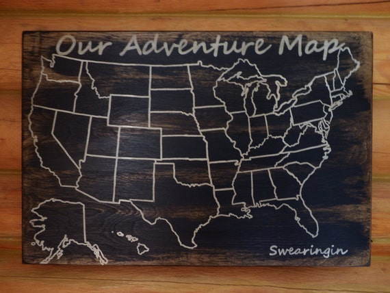 Travel Map Adventure Map US Wood Map USA Travel Map - Personalized us travel map
