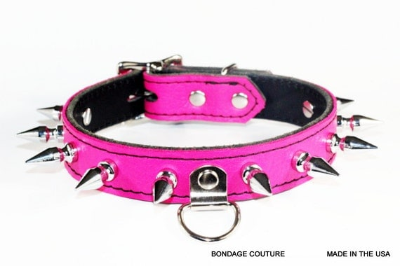 Hot Pink Bdsm Gear Hot Pink Leather Submissive Collar Bdsm-8180