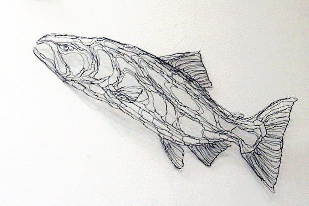 King salmon 4ft wire sculpture 2d wall art by elizabeth by - How to fish wire through exterior wall ...