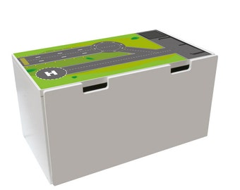"Play mat: Furniture sticker ""Runway"" for IKEA STUVA storage bench (1M-ST03-04) - DIY Play table - Furniture not included"