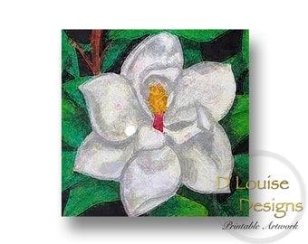 Magnolia, Printable Art, Digital Art, Instant Download, Wall Decor