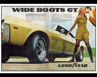 "Vintage Print Ad October 1969 : Goodyear Wide Boots GT 2 Page Sexy Girl Ford Car Automobile Wall Art Decor 16"" x 11"" Advertisement"
