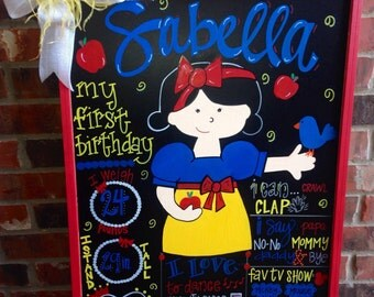 Birthday chalkboard, first birthday chalkboard, Snow White themed birthday chalkboard, hand painted custom chalkboard, birthday chalkboard