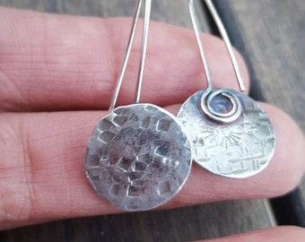 Small Sterling Silver Earrings, V Sterling Earrings , Hammered Sterling Silver Jewelry