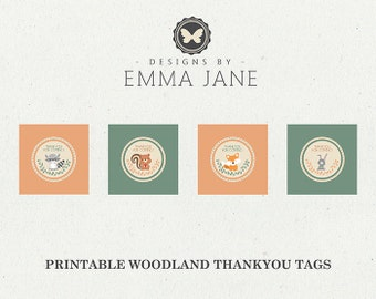 Printable Woodland Birthday Thank You Tags, Party Printables, Instant Download, Woodland Party Decorations, 1st 2nd 3rd 4th 5th Birthday