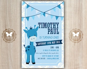 Printable Giraffe Birthday Invitation, Giraffe Invitation, 1st 2nd 3rd 4th 5th 6th Birthday, DIY Birthday Invitation, Birthday Invitation