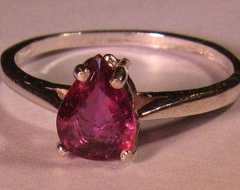 RARE!  Natural unheated  untreated ruby 1.04 ct & sterling silver 925 ring size 7