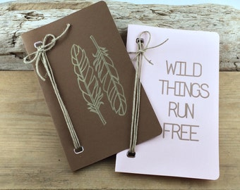 Personal Notebook Set with Graphic/ FREE SHIPPING / 25 Page Notebook/ Personal Journal/ Notebook with Graphic/ Wild Things Run Free