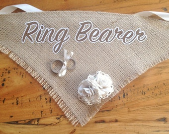 Beautiful Vintage Inspired Burlap Dog Ring Bearer Neck Scarf Bandana