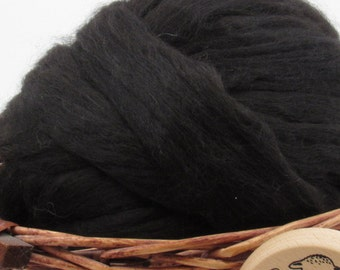 Black Baby Alpaca Top - Undyed Natural Spinning Fiber/ Roving - 1oz