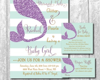 Mermaid Baby Shower Invitation with matching Diaper Raffle Ticket & Book Request Insert/digital files or printing/wording can be changed