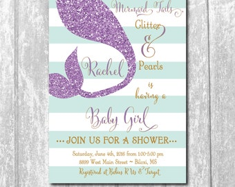 Mermaid Baby Shower Invitation printable/glitter, purple, teal, aqua, mint, tail, gold/wording can be changed