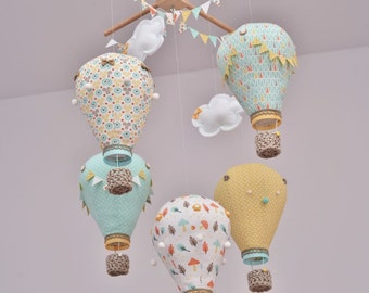Hot air balloon baby mobile Mint,Yellow,White Personalized,Handmade,Nursery decor,Travel theme,Custom mobile,Create mobile in your color