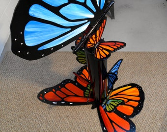 Giant Butterfly Garden Art, Rainbow Butterfly Metal Sculpture, Commercial Art, Large Metal Sculpture, Glass garden Art, Lawn Sculpture